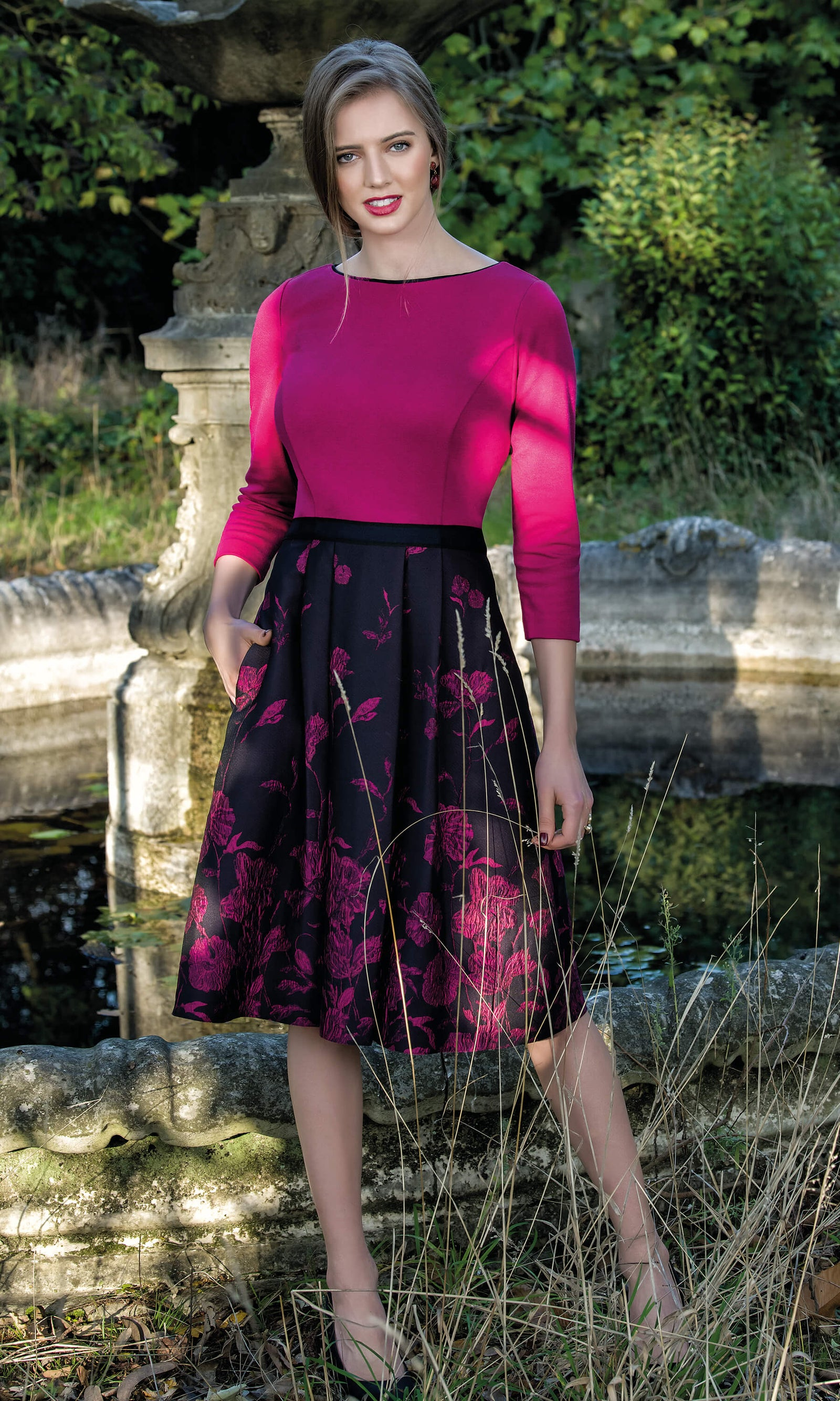 8956 Pink Michaela Louisa A-line Print Dress With Sleeves - Fab Frocks