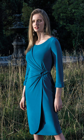 8966 Teal Michaela Louisa Wrap Style Dress With Sleeves