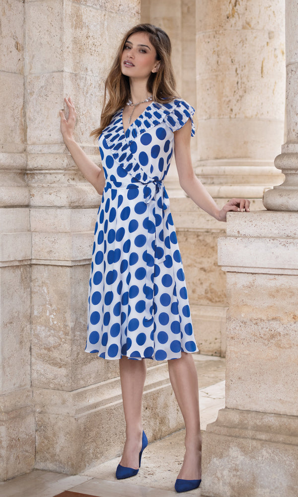 9000 Blue Polka Dot Michaela Louisa Wrap Style Dress - Fab Frocks