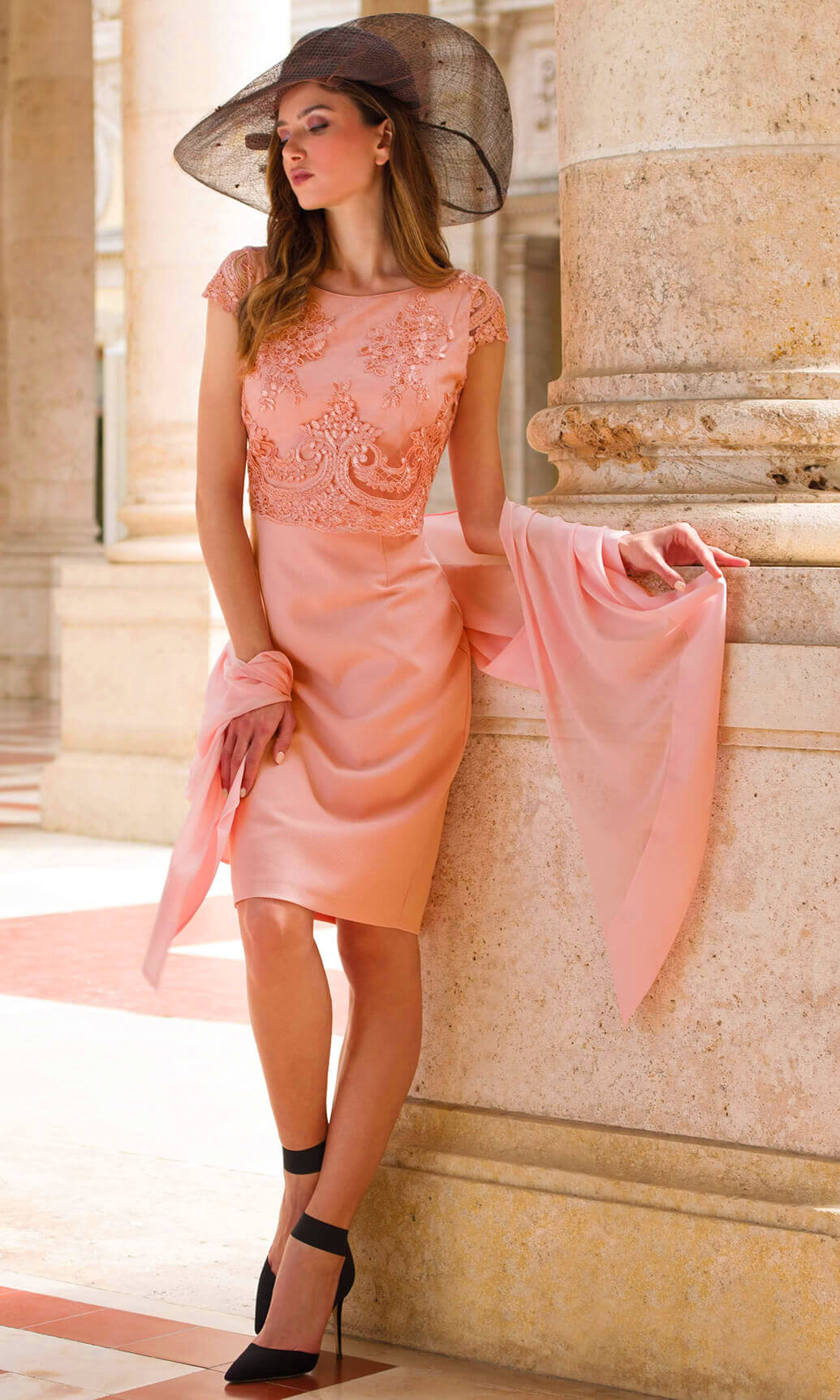 9004 9076 Peach Michaela Louisa Lace Top Dress And Scarf - Fab Frocks