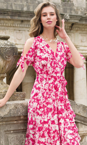 9008 Pink Michaela Louisa Wrap Cold Shoulder Print Dress - Fab Frocks