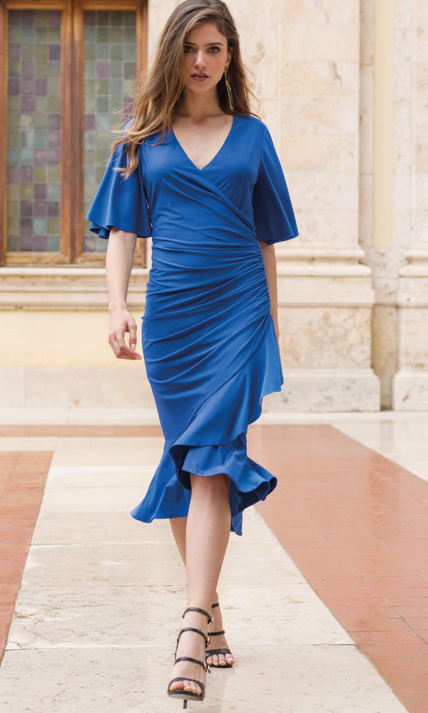 9033 Blue Michaela Louisa Wrap Dress Waterfall Sleeves
