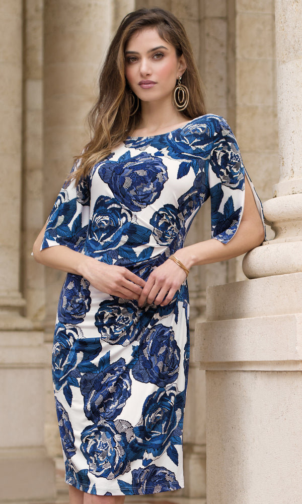 9040 Blue Michaela Louisa Wrap Print Dress With Sleeves - Fab Frocks