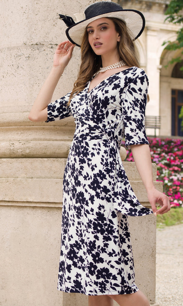 9045 Navy Michaela Louisa Flower Print Dress With Sleeves - Fab Frocks