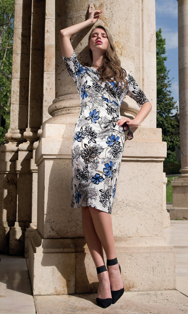 9046 Blue Michaela Louisa Floral Print Dress With Sleeves - Fab Frocks