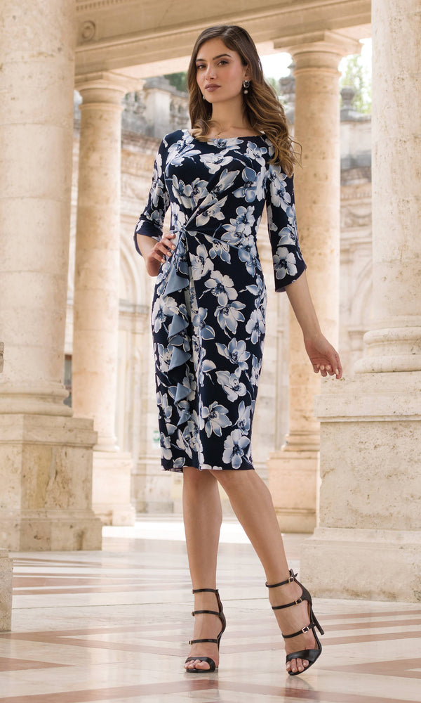 9049 Navy Michaela Louisa Flower Print Dress With Sleeves - Fab Frocks