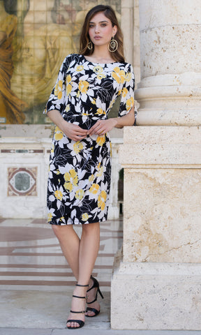 9050 Black Yellow Michaela Louisa Flower Print Dress With Sleeves - Fab Frocks