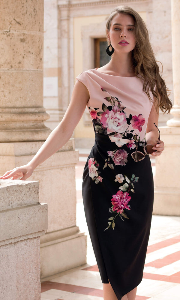 9058 Pink Black Michaela Louisa High Neck Flower Dress - Fab Frocks