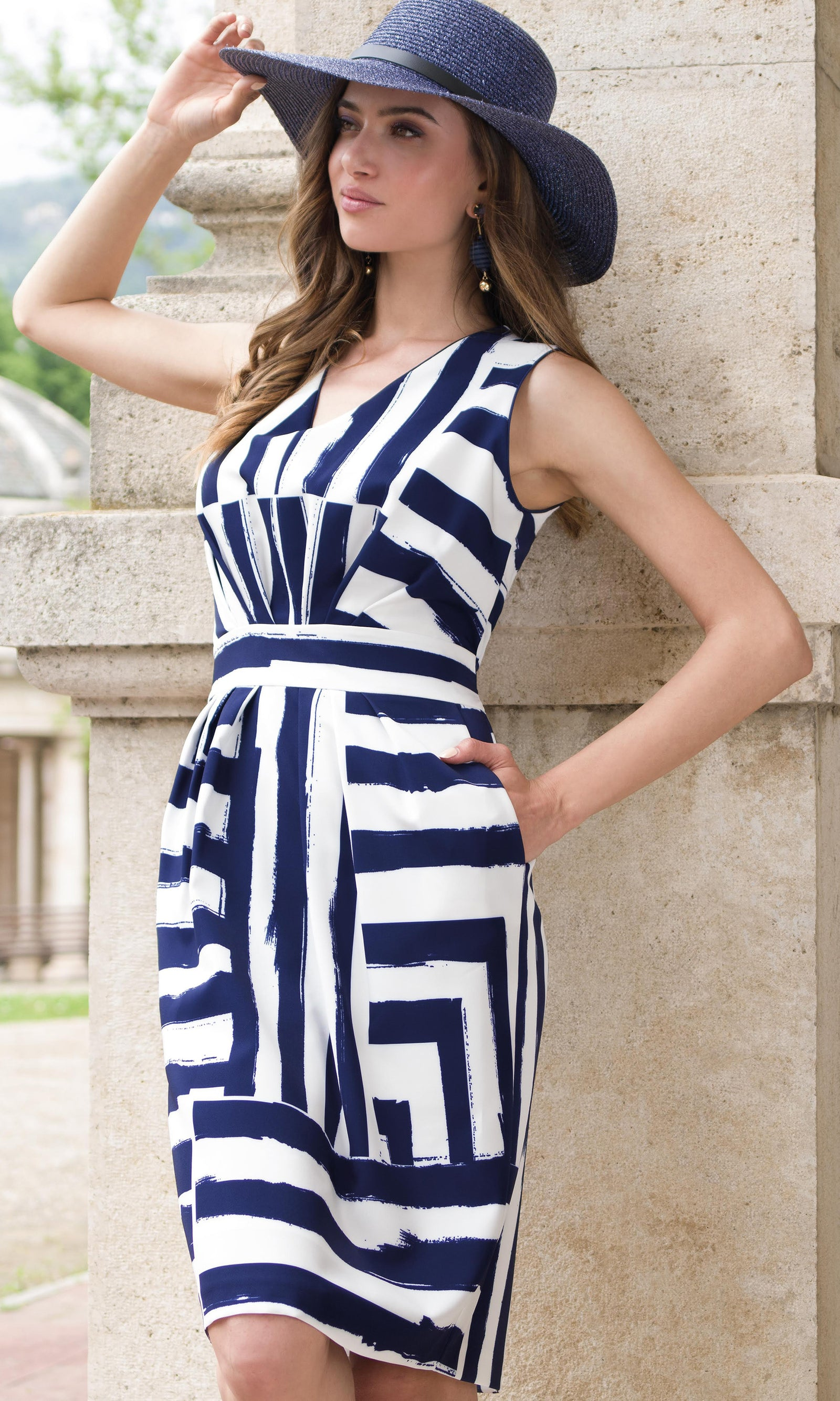 9062 Navy Michaela Louisa Nautical Stripe Dress