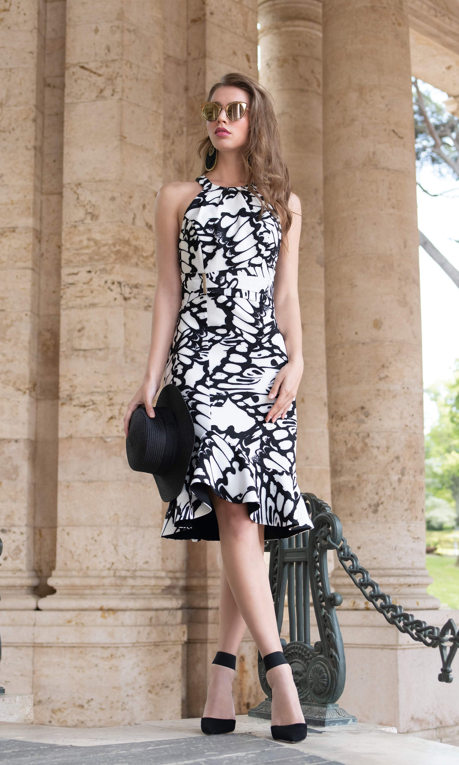 9064 Black White Michaela Louisa Fluted Hemline Dress