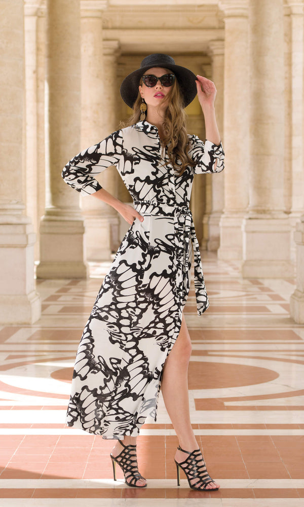 9065 Black White Michaela Louisa Long Shirt Dress - Fab Frocks