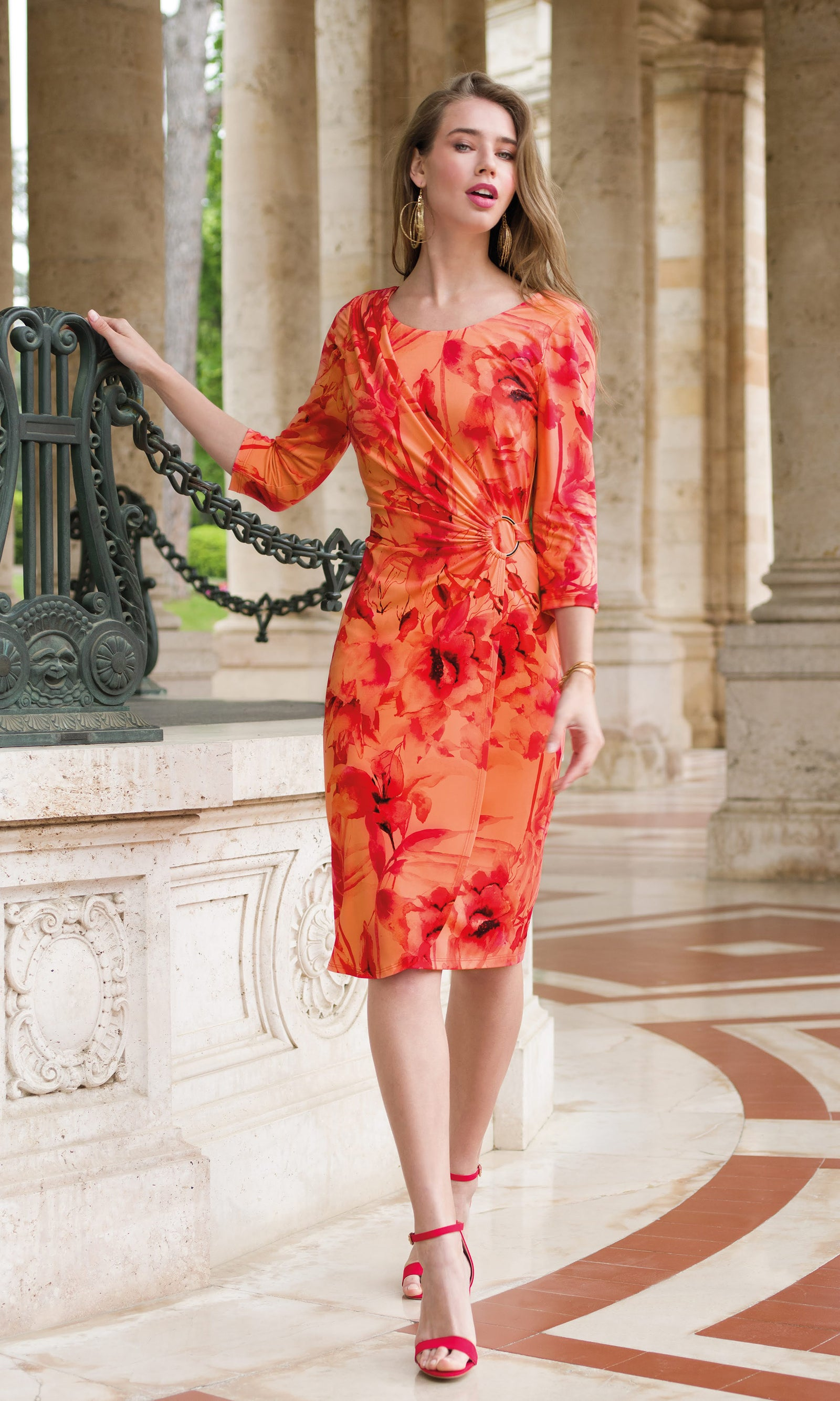 9069 Orange Michaela Louisa Ruched Dress With Sleeves - Fab Frocks