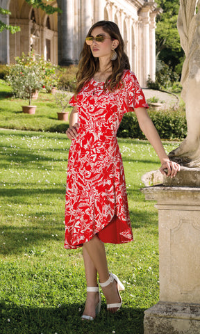 9074 Red Michaela Louisa Dress With Short Sleeves