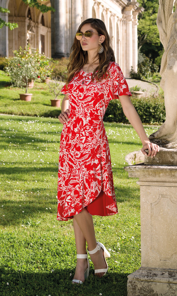 9074 Red Michaela Louisa Dress With Short Sleeves - Fab Frocks