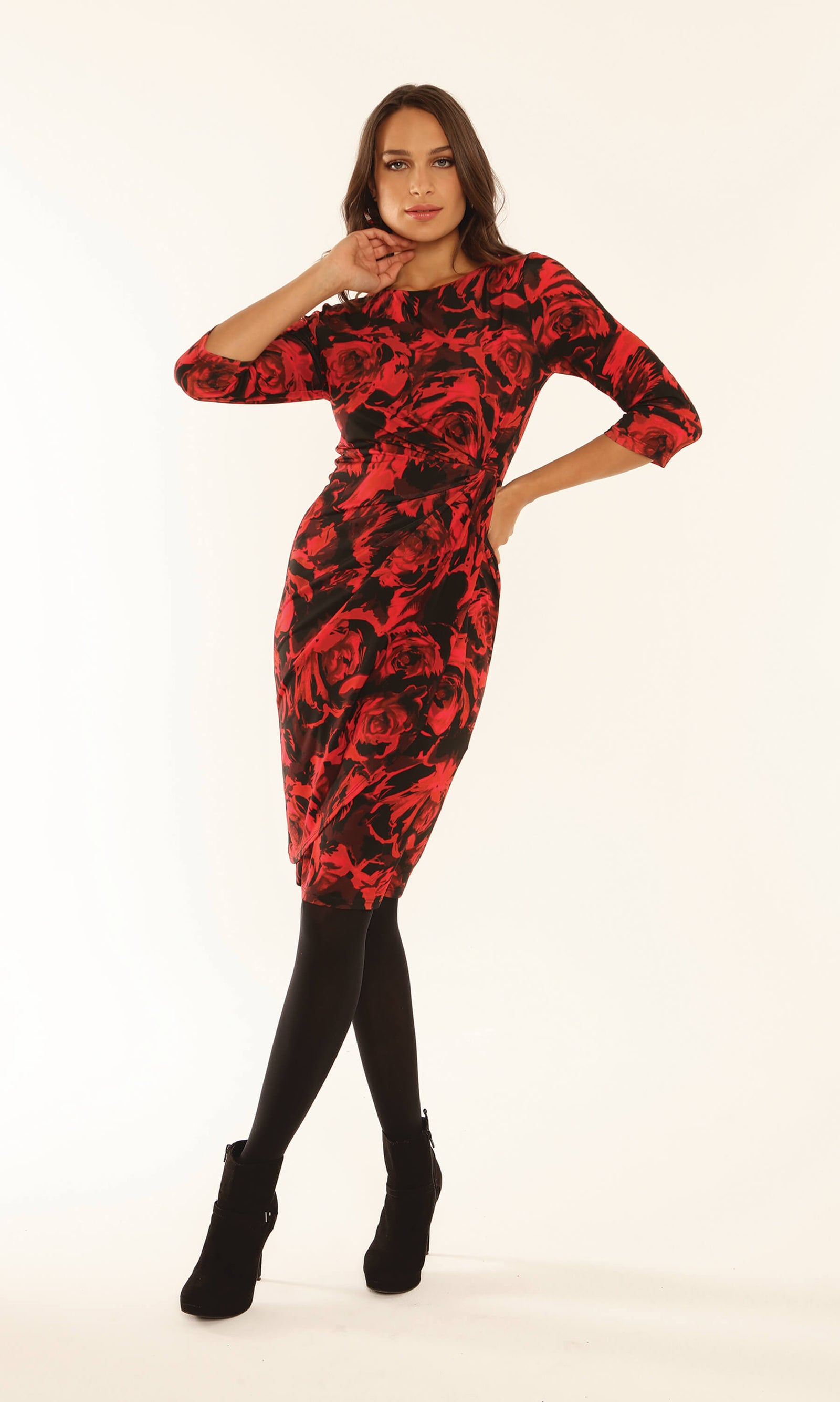 9136 Red Black Michaela Louisa Rose Print Faux Wrap Dress - Fab Frocks