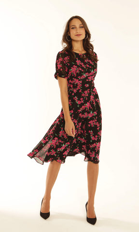 Michaela Louisa 9149 Black Pink Floral Chiffon Dress - Fab Frocks
