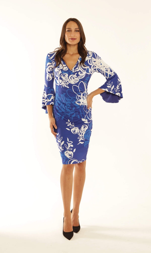 9165 Blue Michalea Louisa Print Dress With Bell Sleeves - Fab Frocks
