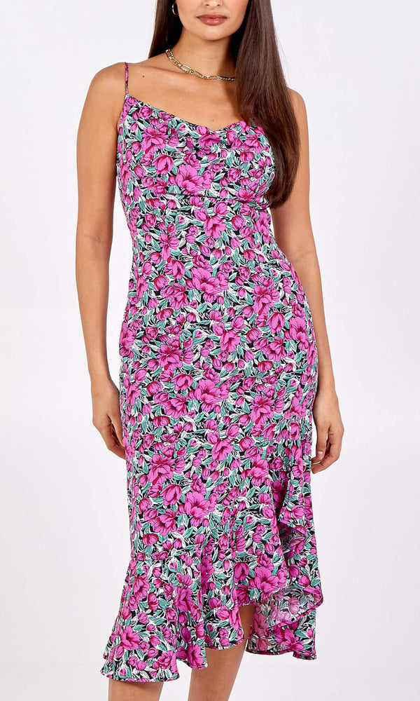 NL8909 Pink Floral Ruffle Hem Cami Dress - Fab Frocks
