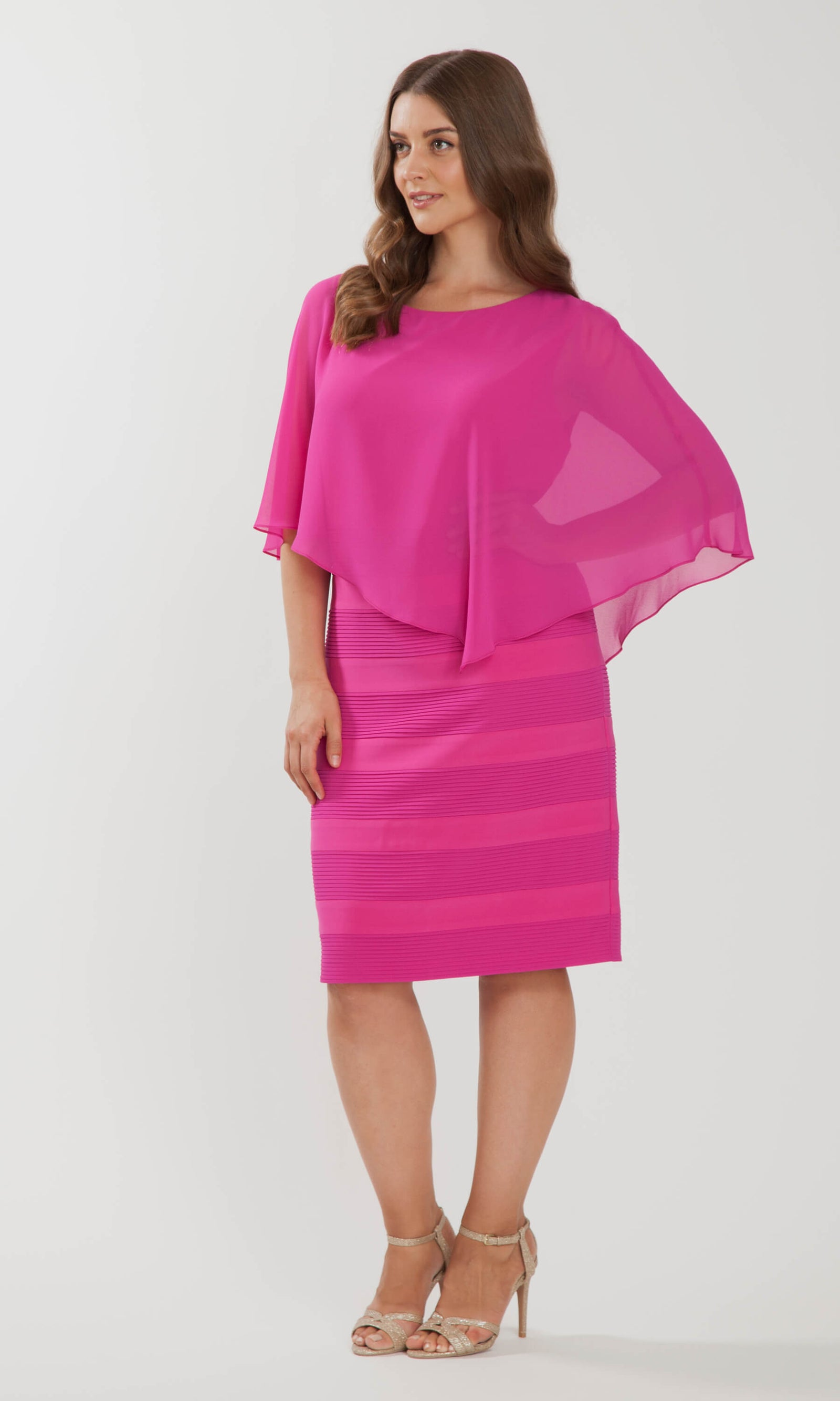 102 Rose Pink Personal Choice Dress With Chiffon Cape - Fab Frocks