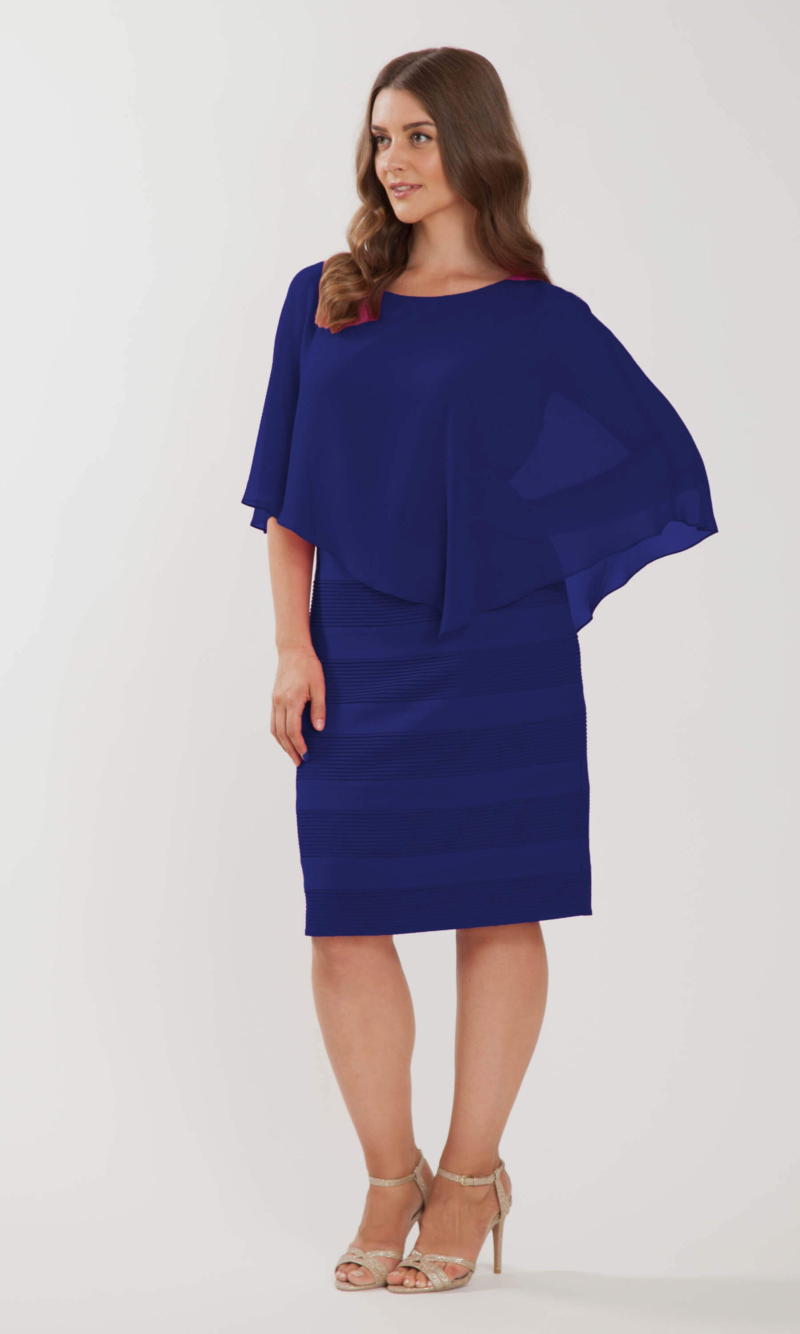 102 Royal Blue Personal Choice Dress With Floaty Cape