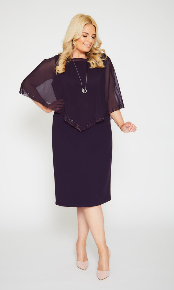 110 Plum Personal Choice Dress With Chiffon Cape - Fab Frocks