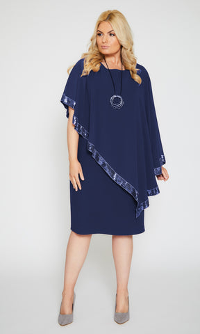 122 Navy Personal Choice Dress With Sequin Edged Cape - Fab Frocks