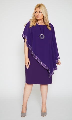 122 Violet Personal Choice Dress With Sequin Edged Cape