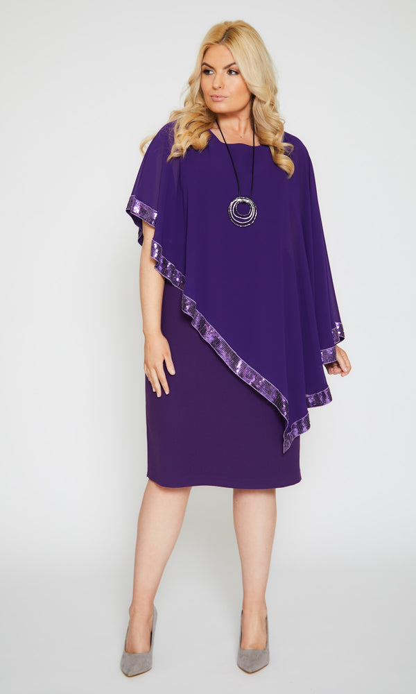 122 Violet Personal Choice Dress With Sequin Edged Cape - Fab Frocks