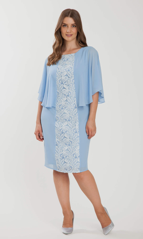 167 Blue Personal Choice Chiffon Dress With Lace Detail - Fab Frocks