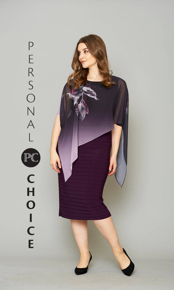 111 Purple Personal Choice Dress With Chiffon Print Cape