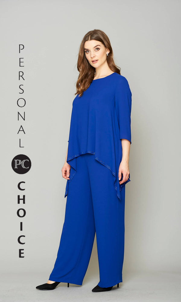 154 Cobalt Blue Personal Choice Chiffon Trouser Suit - Fab Frocks