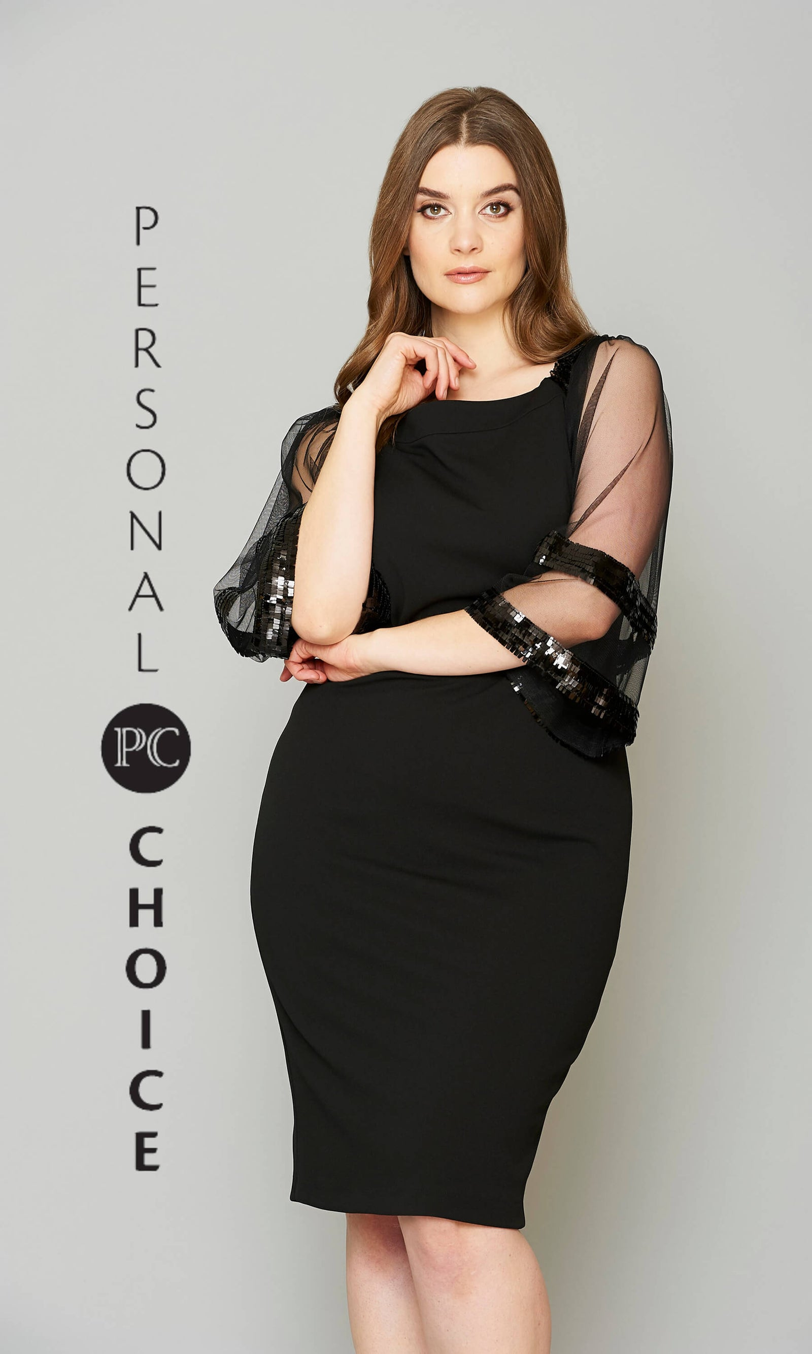190 Black Personal Choice Dress With Sheer Sleeves - Fab Frocks