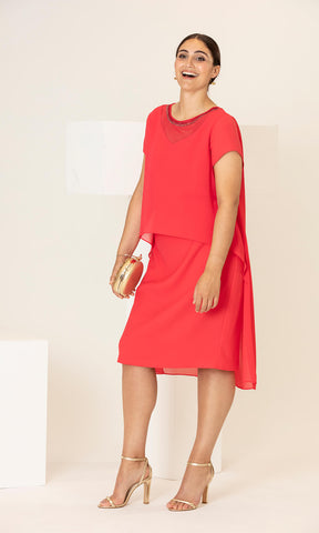 PCS20116 Coral Personal Choice Dress With Chiffon Overlay - Fab Frocks