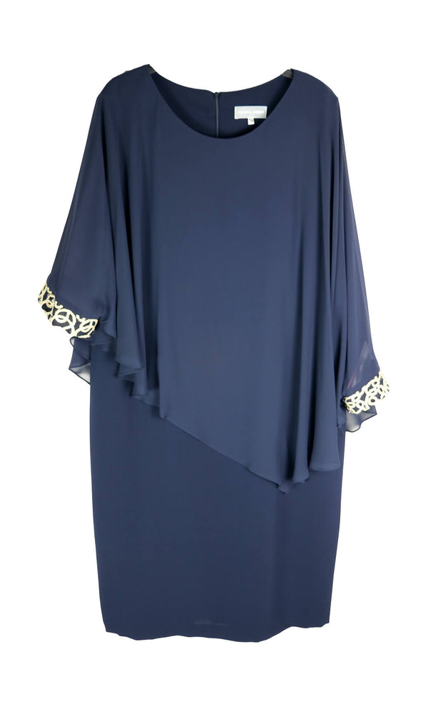 PCAW19110 Navy Personal Choice Dress Chiffon Cape & Cuffs