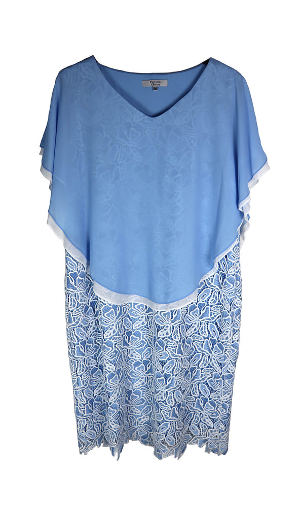 PCS19160 Sky Blue Personal Choice Guipure Lace Dress - Fab Frocks