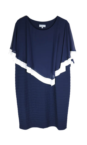 PCS20115 Navy Personal Choice Layered Jersey Dress With Cape