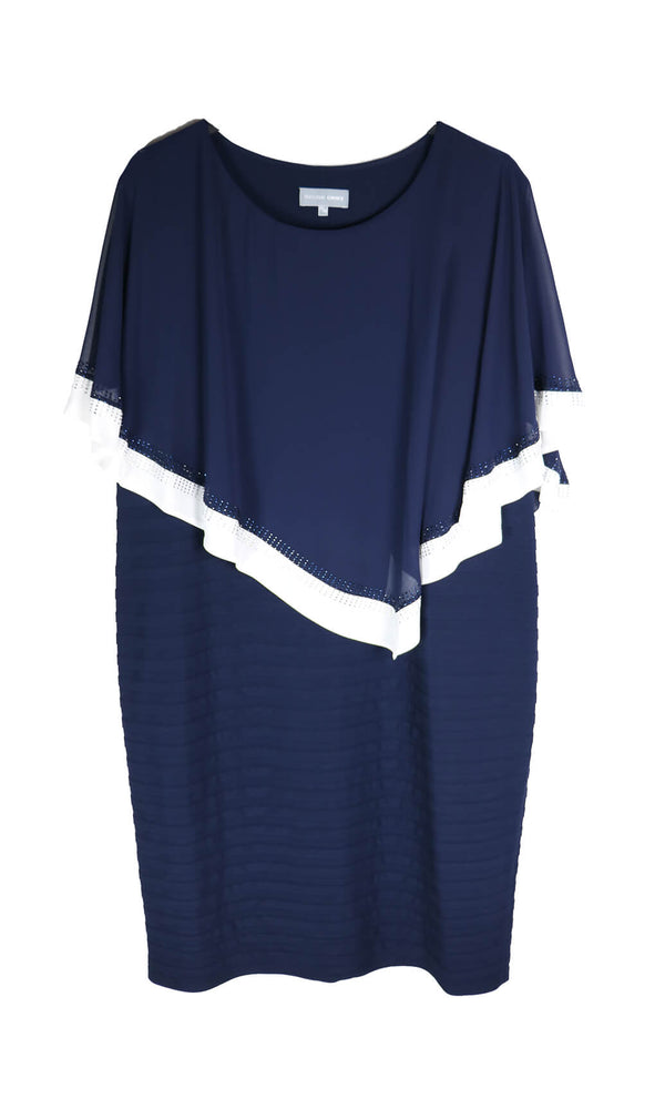 PCS20115 Navy Personal Choice Layered Jersey Dress With Cape - Fab Frocks