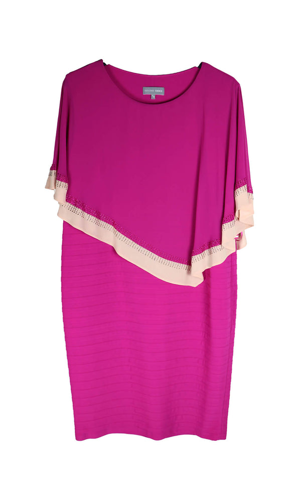 PCS20115 Fuchsia Personal Choice Layered Jersey Dress With Cape