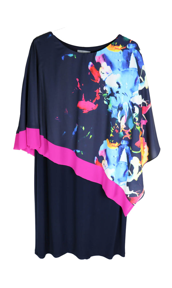 PCS20139 Navy Personal Choice Dress Abstract Print Cape - Fab Frocks