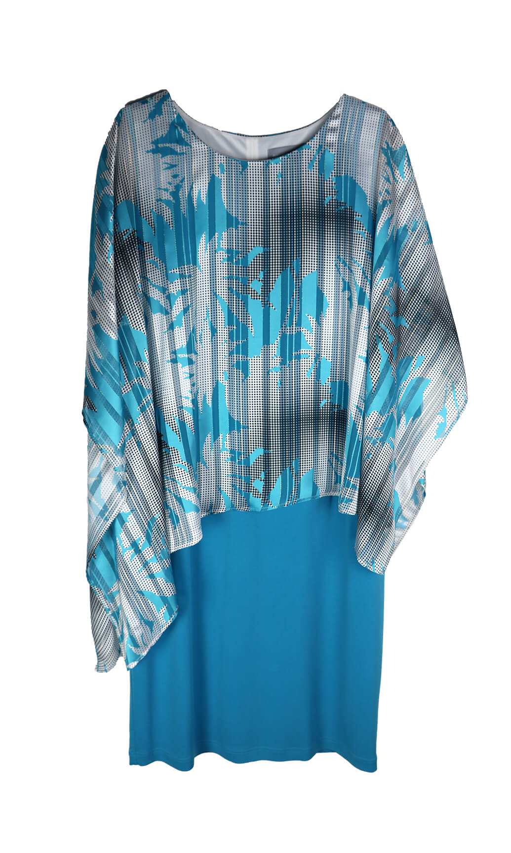 PCS20170 Turquoise Personal Choice Jersey Dress Abstract Cape - Fab Frocks