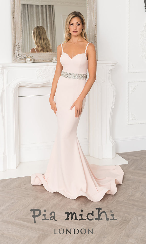 11252 Blush Pink Pia Michi Low Back Evening Prom Dress
