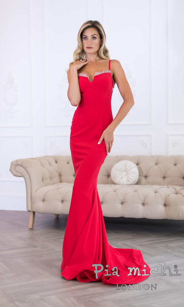 11265 Red Pia Michi Evening Prom Dress With Train