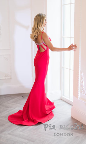 11265 Red Pia Michi Evening Prom Dress With Train - Fab Frocks