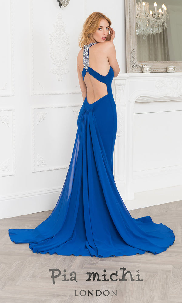 11268 Royal Pia Michi Low Back Halter Evening Prom Dress