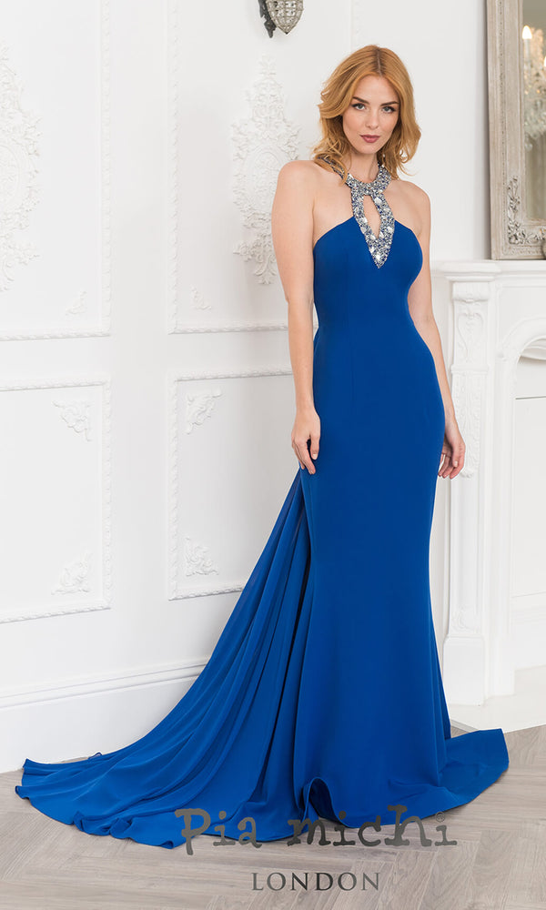 11268 Royal Pia Michi Low Back Halter Evening Prom Dress - Fab Frocks