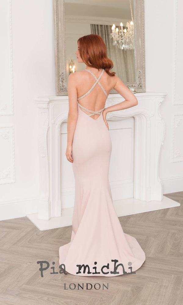 11275 Blush Pink Pia Michi Backless Dress & Beaded Straps