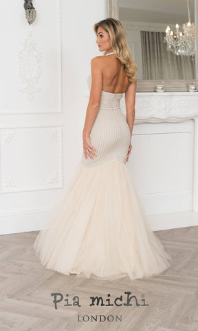 11278 Champagne Pia Michi Mermaid Halterneck Dress