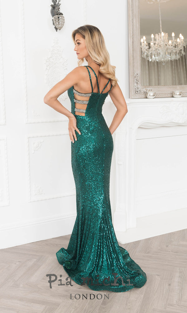 11298 Green Pia Michi Sequin Mermaid Style Cut Out Side Dress