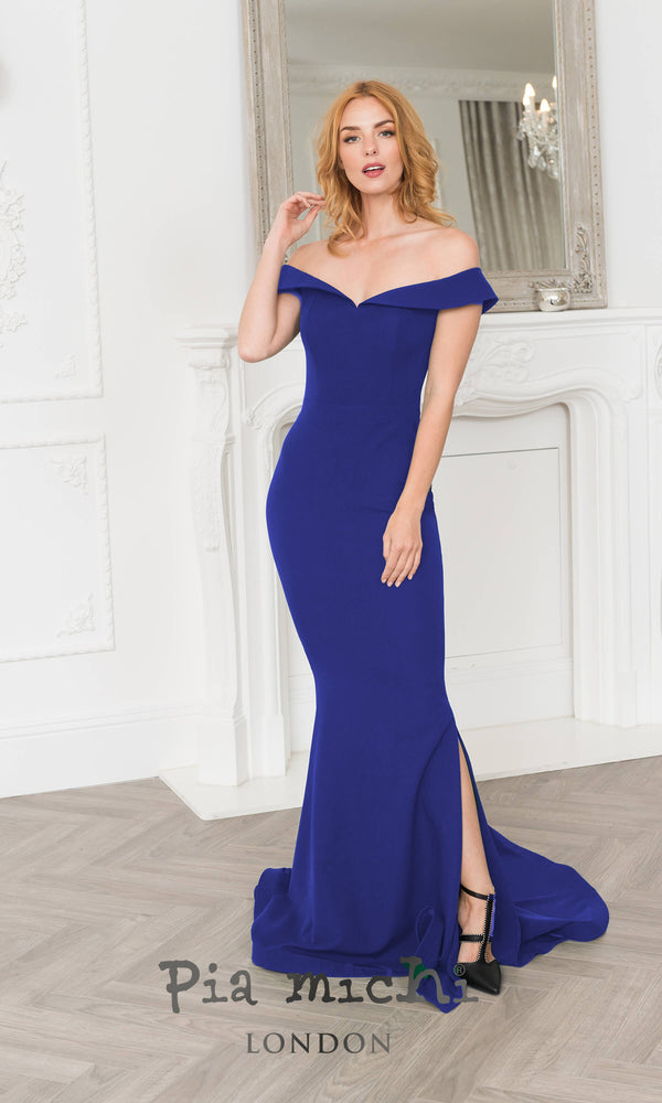 1304 Royal Blue Pia Michi Bardot Fishtail Red Carpet Dress - Fab Frocks