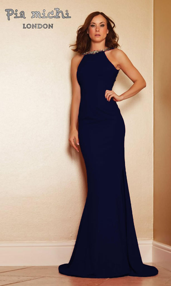 1221 Navy Pia Michi High Neck Low Back Evening Dress